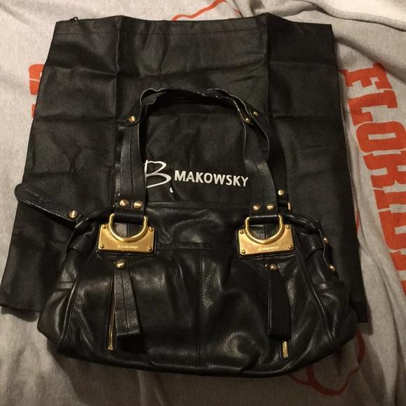 b. makowsky Bags   B Makowsky Black Leather Bag   Poshmark 2522f074be